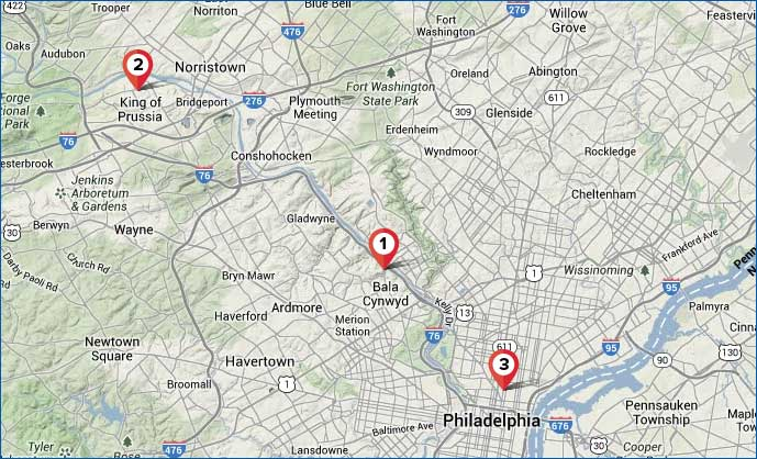 Philadelphia Area Map – 4 New AnyWare Learning Centers