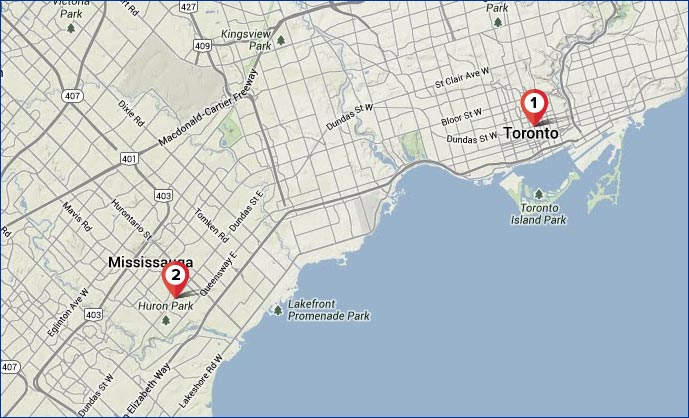 Toronto Map – 2 AnyWare Learning Centers